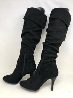 New! Women's Skechers 35968 Knee High Suede Fabric Heel Boot