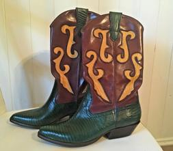 NEW Nine West women's COWBOY BOOTS Leather & Lizard Print 7
