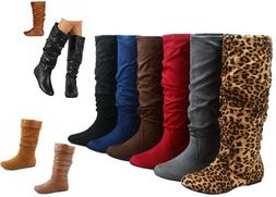 NEW Women's  Faux Suede Leather Flat Heel Mid-Calf Knee High