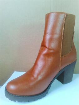 NEW Women's elastic Tan/cognac Ankle Boots PULL-On SIZE 7M
