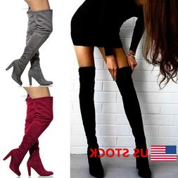 New Womens Over The Knee Suede Boots Block High Heel Lace Th