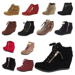 NEW Womens Wedge Sneakers High Top Fashion Heels Booties Ank