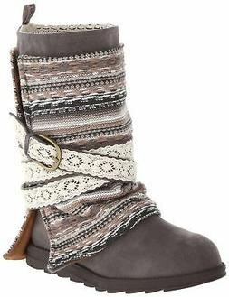 Muk Luks Women's Nikki Belt Wrapped Boot, Grey, 8 M US