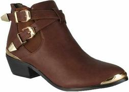 Refresh Party-02 Women's Buckle & Bands Accent Ankle Boots,C
