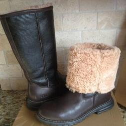 UGG Brooks Water-resistant Brown Leather Shearling Tall Boot