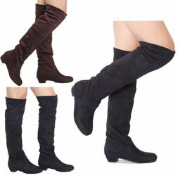 US Women Flat Over The Knee Long Boots Autumn Winter Ladies