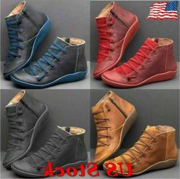 US Women Ladies Arch Support Boots Zipper Ankle Boots Lace U