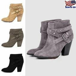 US Womens Block High Heel Short Ankle Boots Casual Buckle Ma