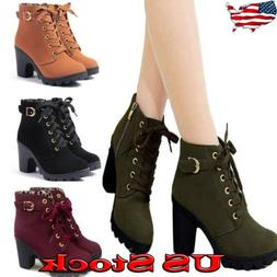 US Womens High Heel Lace Up Ankle Boots Ladies Zipper Buckle