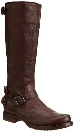 FRYE Women's Veronica Back-Zip Boot, Dark Brown, 6.5 M US