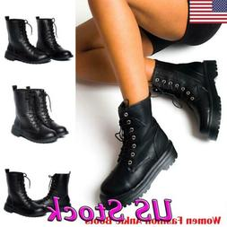Vintage Women Combat Military Boots Army Ankle Lace up Biker