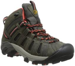 KEEN Women's Voyageur Mid Hiking Boot,Raven/Hot Coral,7.5 M