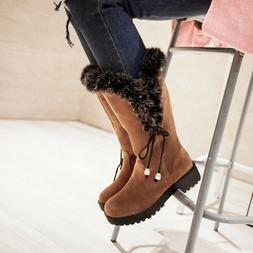 Winter Women Fur Lined Boots Flats Mid-Calf Plush Platform W