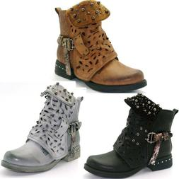 Women Ankle Boots Studded Goth Zip Combat Hollow Carved Tube