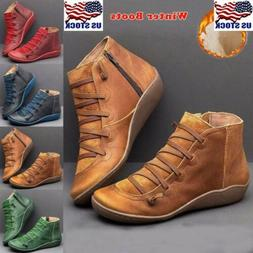 Women Arch Support Boots Zipper Ankle Boots Lace Up Casual F