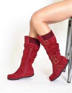 Women Boots Knee High Mid Calf Strappy Faux Suede Knitted Co