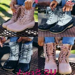 Women Duck Boots Lace Up Glitter Bling Ankle Strap Glitzy Wa