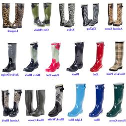 Rubber Rain Boots for Women, Mid-Calf Waterproof Solid & Col