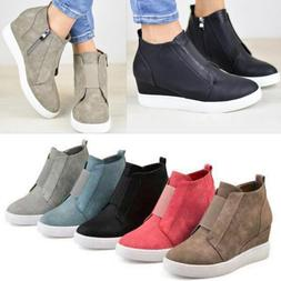 Women Hidden Wedge Mid Heel Ankle Boots Sneakers Trainers Hi