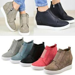 Women Hidden Wedge Mid Heel Ankle  Sneakers Trainers High Sh