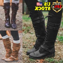 Women Knee High Lace Up Combat Boots Ladies PU Leather Zip R