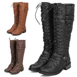 Womens Faux Leather Knee High Lace Up Buckle Riding Boots Mi