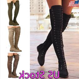Women Lace Up Side Zip Over The Knee Boots Ladies Thigh High