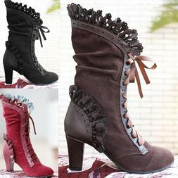 Women Leaf Boots with Vine Curl Heel Knee High Steampunk Cos
