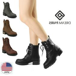 DREAM PAIRS Women Chelsea Ankle Boots Lace Up Zipper Militar