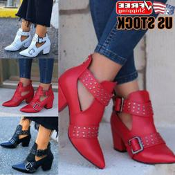 Women Mid Block Heel Ankle Boots Ladies Pointed Toe Chunky B
