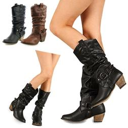 Women Pointed Toe Cowboy Cowgirl Mid Calf Boots Chunky Buckl