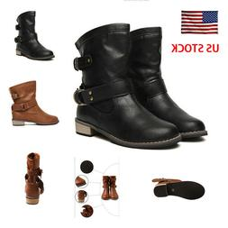 Women Motorcycle Boots Leather Buckle Cool Winter Shoes Roun
