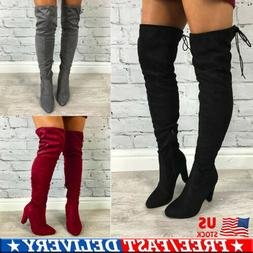 Women Over The Knee Stretch Thigh High Heel Boots Pointed To