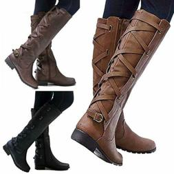 Women Riding Boots Lace Up Mid Calf Boots Casual Zipper Buck