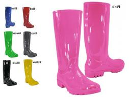Womens Rubber Rain Boots Black Blue Gray Green Red Yellow Si