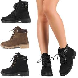 Women's Combat Military Boots Lace Up Block Heel Rubber Sole
