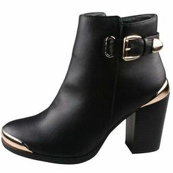 Refresh Women's 'Appolo' Goldrush Chunky Heel Ankle Booties