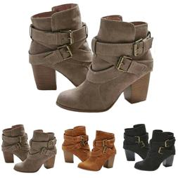 Women's Block High Heel Short Ankle Boots Casual Buckle Mart