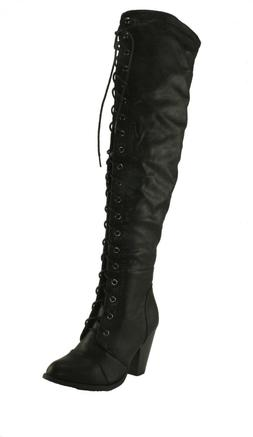 Forever Women's Camila-48 Chunky Heel Lace Up Over The Knee