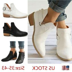 Women's Casual Ankle Boots Hollow Pointed Toe Buckle Plus Si