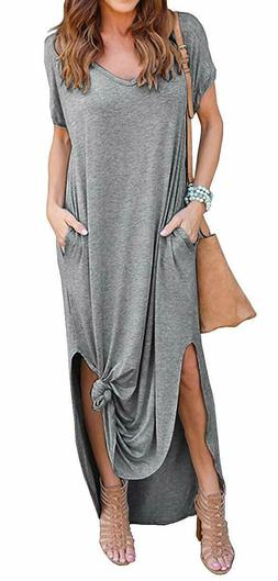 GRECERELLE Women's Casual Loose Pocket Long Dress Short Slee