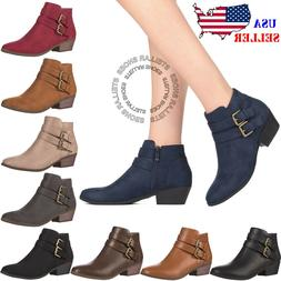 Women's Chunky Booties Low Block Heels Ankle Boots Shoes Zip