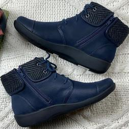 """Clarks Women's Cloudsteppers """"Sillian Frey"""" Ankle Boots Navy"""