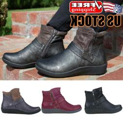 Women's Flat Leather Ankle Boots Round Toe Zip Casual Chelse