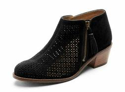 VIONIC Women's JOY DAYTONA Perforated Suede Ankle Boots BLAC