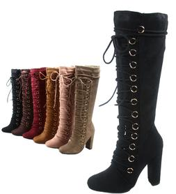 Women's  Lace Up Side Zip Mid-Calf Knee High Chunky High Hee