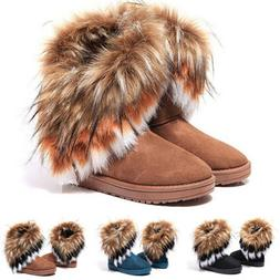 Women's Ladies Warm Snow Boots Casual Suede Faux Flat Heel P