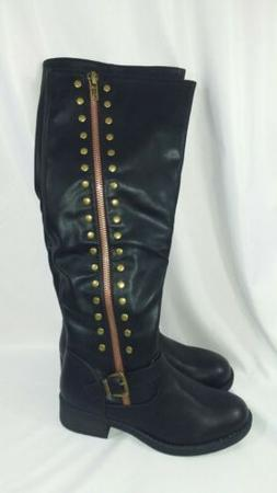 Refresh Women's Megen-03 Zip Knee High Boot Black Size 8 Rid