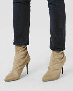 Theory Women's Natural Faux Suede Sock Boot Sz 38 Nude NIB 5