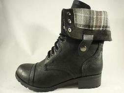 Women's SODA ORALEE Black+Gray Plaid Combat Casual Lace Up D